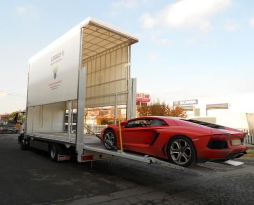 Eurocargo trasporto vetture, centine doppio piano regolabile, sponda montacarichi racing